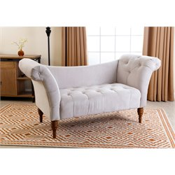 Abbyson Living Savannah Tufted Velvet Settee in Ivory