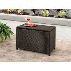 Abbyson Living Liliana Outdoor Storage Ottoman in Espresso