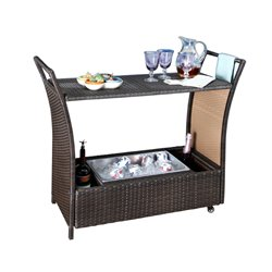 Abbyson Living Aurora Outdoor Wicker Aluminum Bar Cart in Espresso