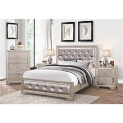 Beaumont Leather Tufted 4 Piece Bedroom Set