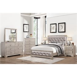 Abbyson Living Beaumont Leather Tufted 6 Piece Queen Bedroom Set