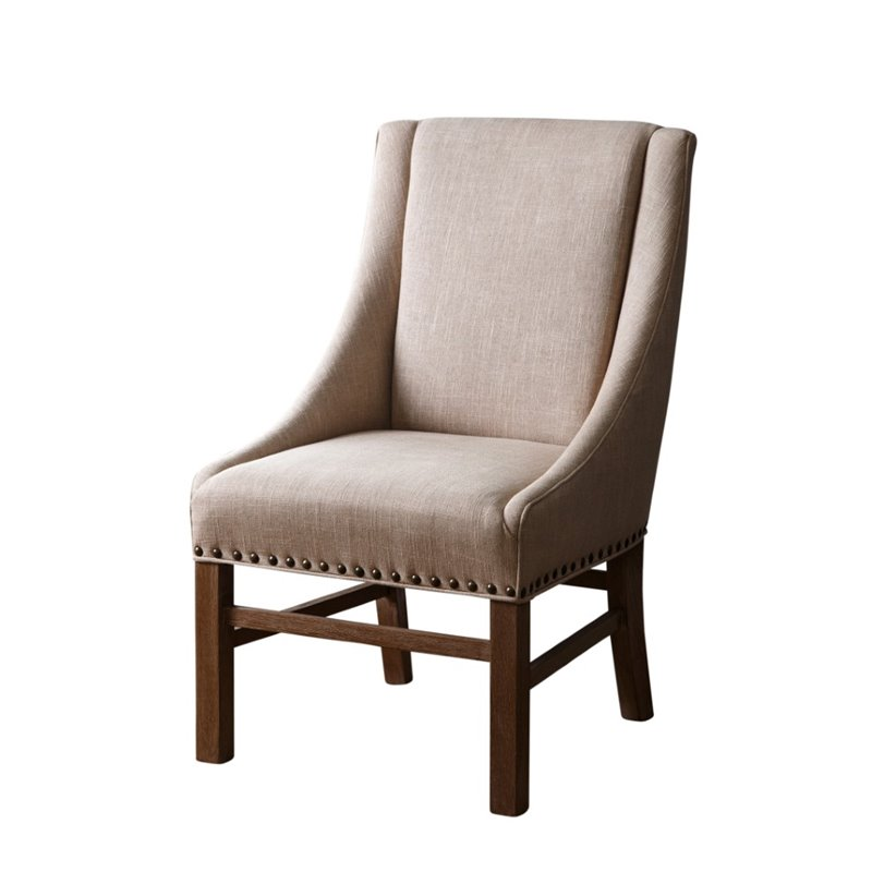 Abbyson Living Jax Vintage Linen Sloped Armchair In Wheat