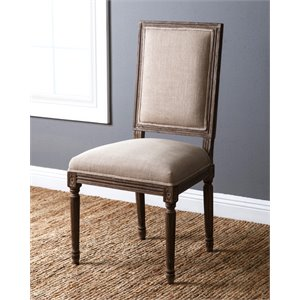 Abbyson Living Parker Vintage Linen Dining Chair in Wheat