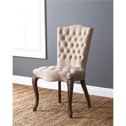 Abbyson Living Adrian Vintage Velvet Tufted Dining Chair in Ivory