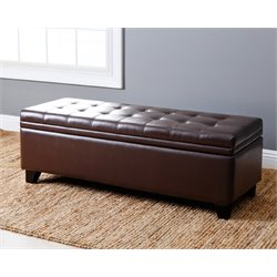 Asher Leather Tufted Storage Ottoman