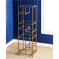 Abbyson Living Ryder Glass Book Shelf in Gold