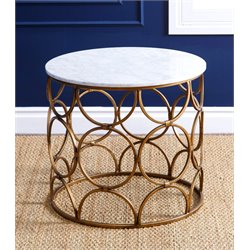 Abbyson Living Harrison Round Faux Marble End Table in Gold