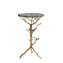 Abbyson Living Bently Round Glass End Table in Gold