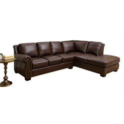 Abbyson Living Zara Top-Grain Leather Sectional in Brown