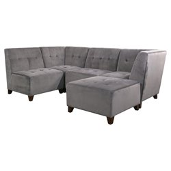Abbyson Living Kailey 5 Piece Modular Sectional in Gray