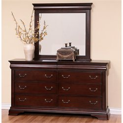 Abbyson Living Sabrely 6 Drawer Dresser with Mirror in Espresso