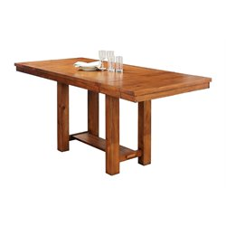 Abbyson Living Hana Dining Table with Leaf in Brown