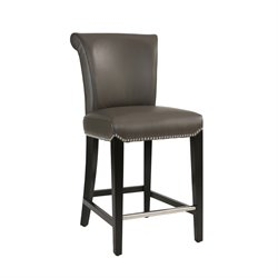 Abbyson Living Bronson Bonded Leather Stool in Gray-SH6