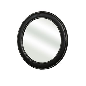 Abbyson Living Barry Bonded Leather Round Wall Mirror-SH9