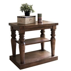 Abbyson Living Westley Wood Accent End Table in Wheathered Oak