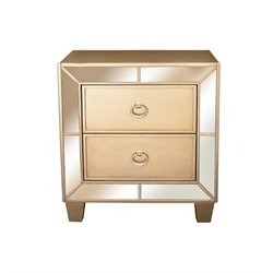 Abbyson Living Francesca 2 Drawer Mirrored Nightstand in Gold