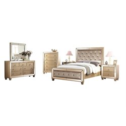 Abbyson Living Francesca 6 Piece Panel Bedroom Set in Gold-Q