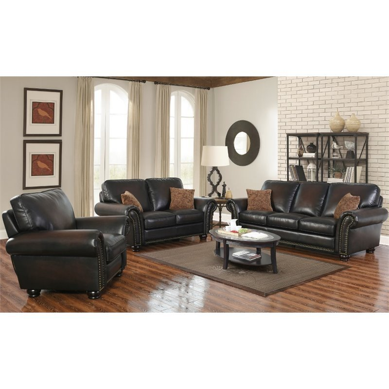 Abbyson Living Frances 3 Piece Bonded Leather Sofa Set In Brown
