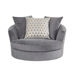 Abbyson Living Emily Fabric Swivel Chair in Gray