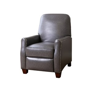 Abbyson Living Briana Faux Leather Pushback Recliner in Gray