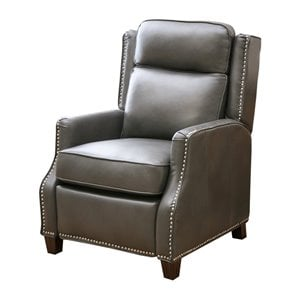 Abbyson Living Lark Faux Leather Pushback Leather Recliner in Gray