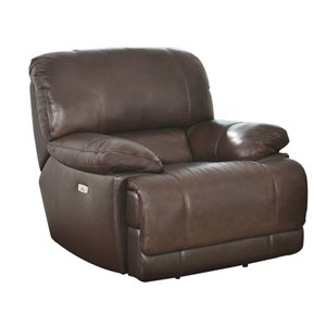 Abbyson Living Aspen Leather Power Recliner in Brown