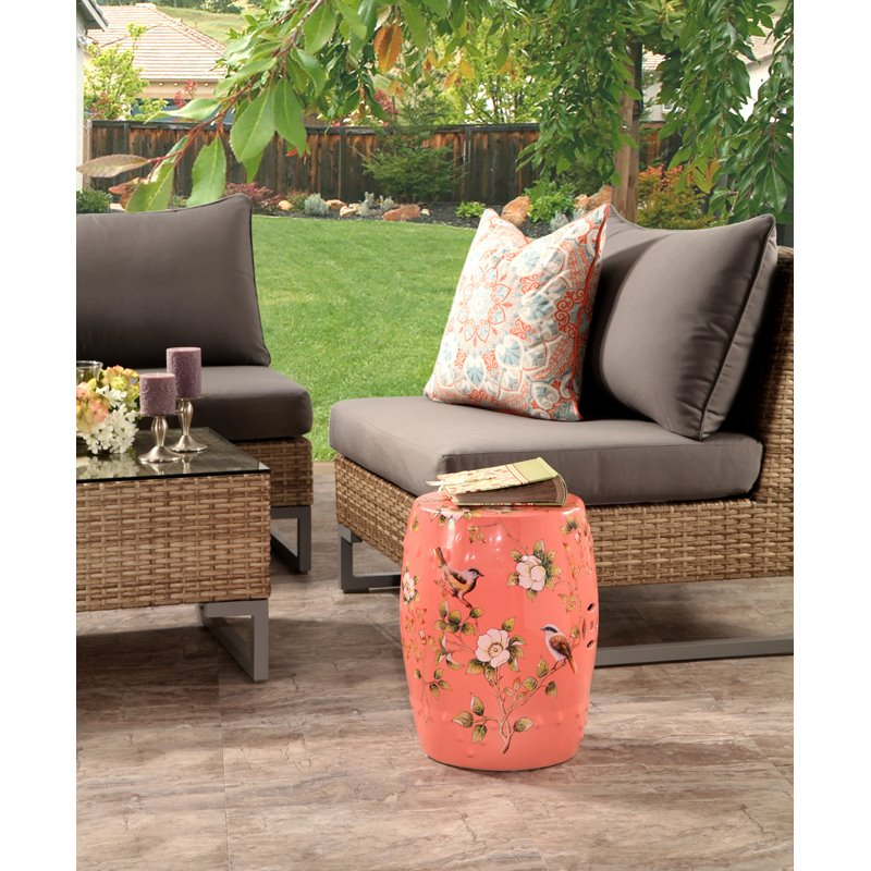 Superieur Abbyson Shou Coral Hand Painted Floral Ceramic Garden Stool