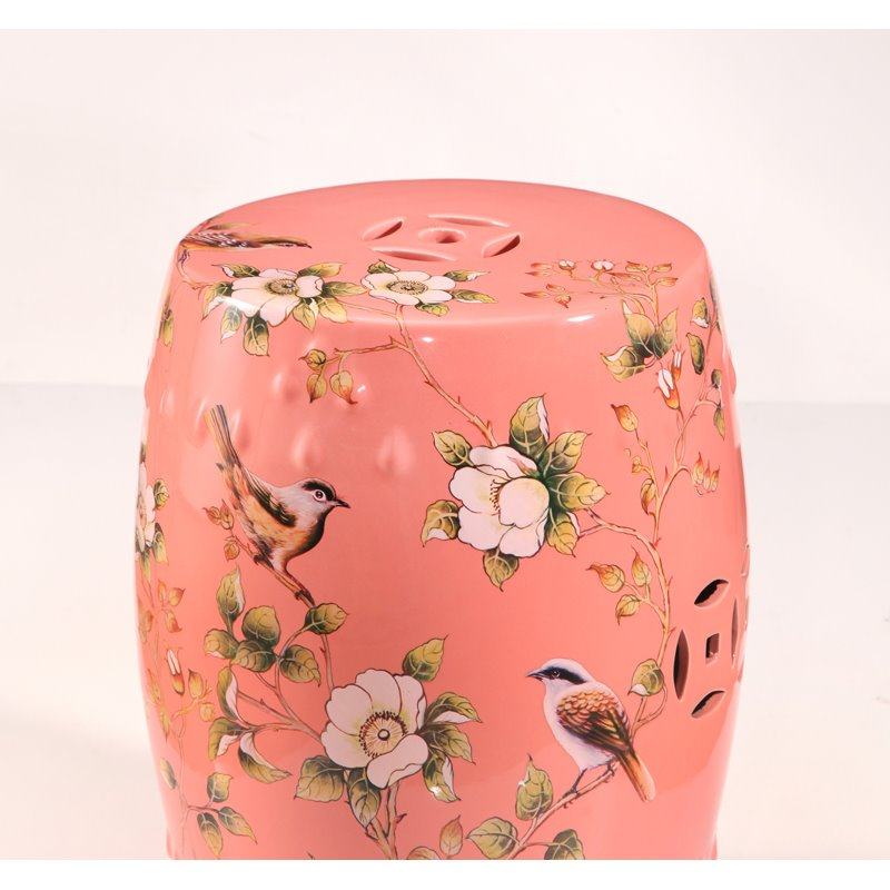 Abbyson Shou Coral Hand Painted Floral Ceramic Garden Stool