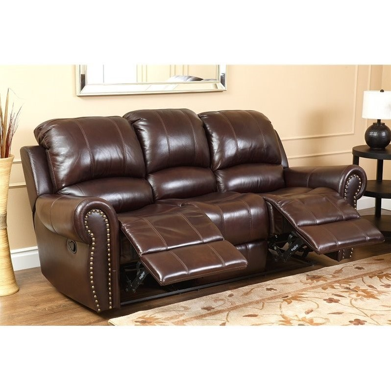 Abbyson Hogan Top Grain Leather Reclining Sofa And