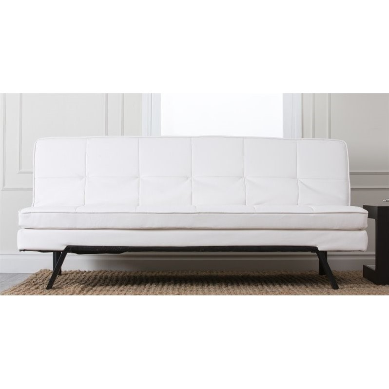 Abbyson Living Bradley Faux Leather Sofa in Pure White