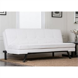 Abbyson Living Bradley Solid Oak Sofa in Pure White