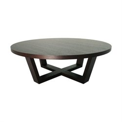 Abbyson Living Wilshire Round Coffee Table in Espresso