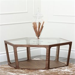 Abbyson Living Newbury Wood and Glass Table in Walnut