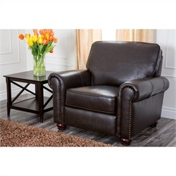 Abbyson Living London Leather Armchair in Dark Truffle