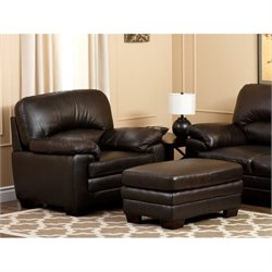 Abbyson Living Lalia Leather Arm Chair in Brown