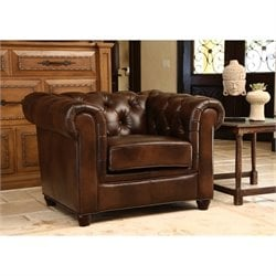 Abbyson Living Arcadian Wood Armchair in Chesnut Brown