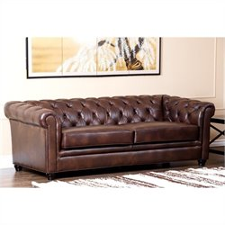 Abbyson Living Foyer Wood Sofa in Chesnut Brown