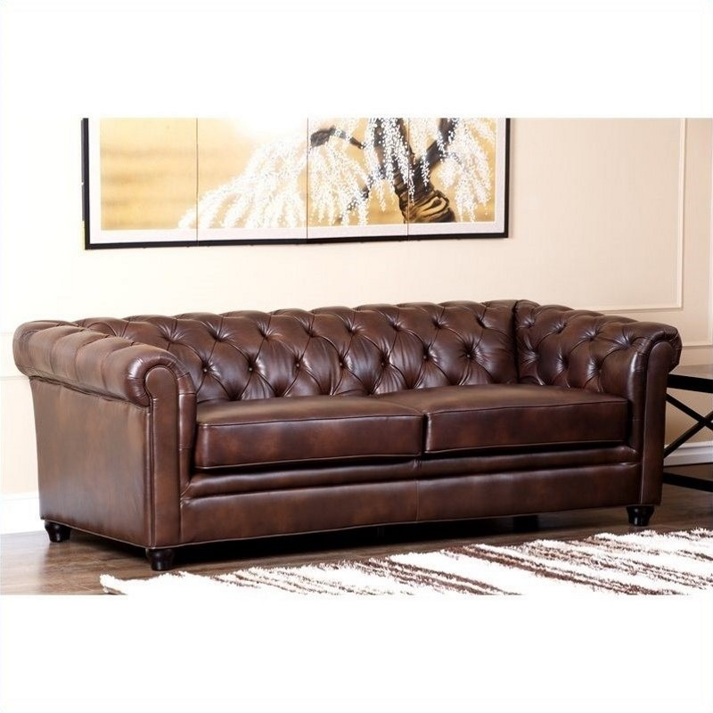 abbyson living foyer leather chesterfield sofa set ci 9193 brn 3 1. Black Bedroom Furniture Sets. Home Design Ideas