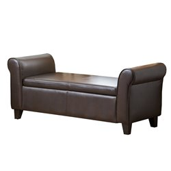 Abbyson Living Terna Leather Storage Ottoman Bench in Dark Brown