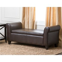 Abbyson Living Terna Wood Frame Ottoman in Dark Brown