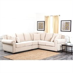 Abbyson Living Bromley Fabric Nailhead Sectional Sofa in Sandstone