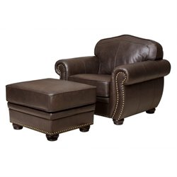 Abbyson Living Pearla Leather Club Arm Chair with Ottoman in Brown