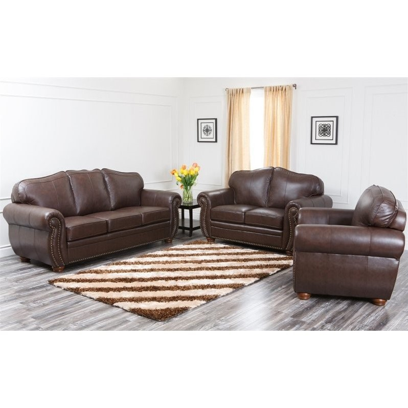 Pearla Leather Sofa Sets in Dark Truffle
