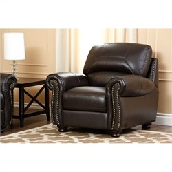 Abbyson Living Berneen Leather Arm Chair in Brown
