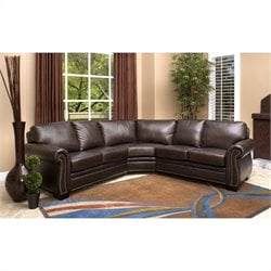 Abbyson Living Arizona Leather Sectional Sofa in Dark Truffle