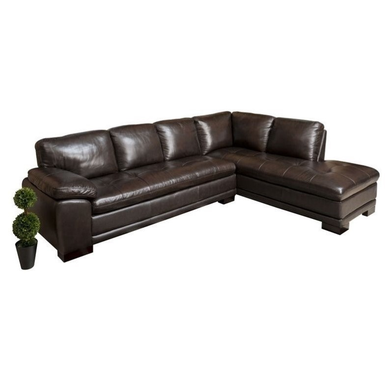 Abbyson Living Tekana 2 Piece Leather Sectional in Dark Brown