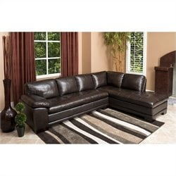 Abbyson Living Tekana Leather Sectional in Dark Brown