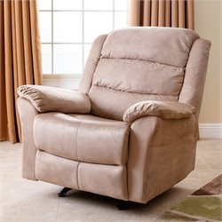 Abbyson Living Aussie Microsuede Recliner in French Cream