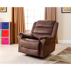 Abbyson Living Aussie Microsuede Recliner in Almond