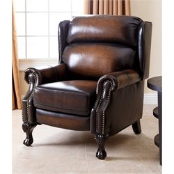 Abbyson Living Veda Hand Rubbed Leather Recliner in Brown